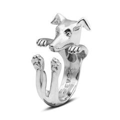 Dog Fever Sterling Silver Whippet Hug Ring