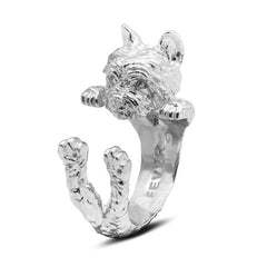 Dog Fever Sterling Silver Yorkshire Hug Ring