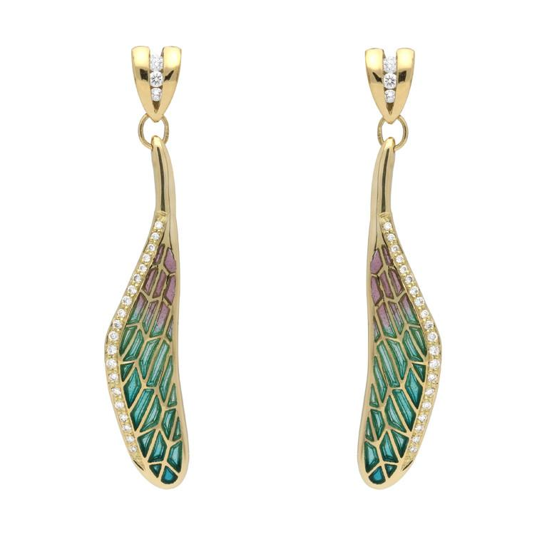 18ct Yellow Gold Diamond Enamel House Style Dragonfly Wing Stud Earrings