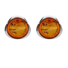 Sterling Silver Amber Round Tapered Edge Stud Earrings