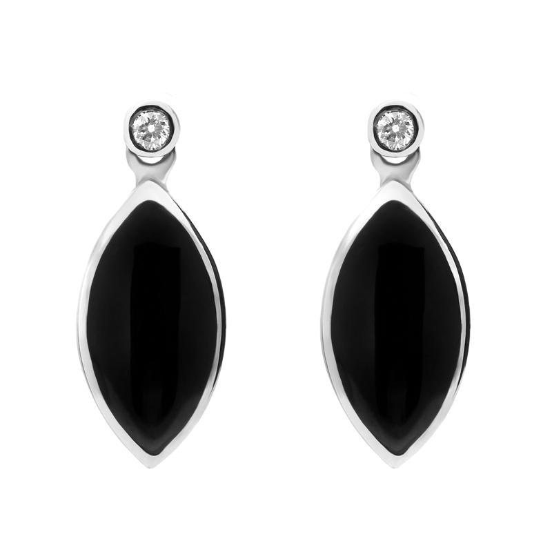 9ct White Gold Whitby Jet and Diamond Marquise Shaped Drop Earrings
