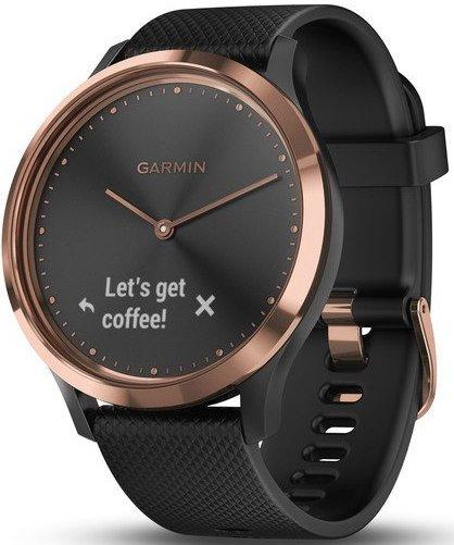 Garmin Watch Vivomove HR Rose Gold with Black Silicone Band 010-01850-06