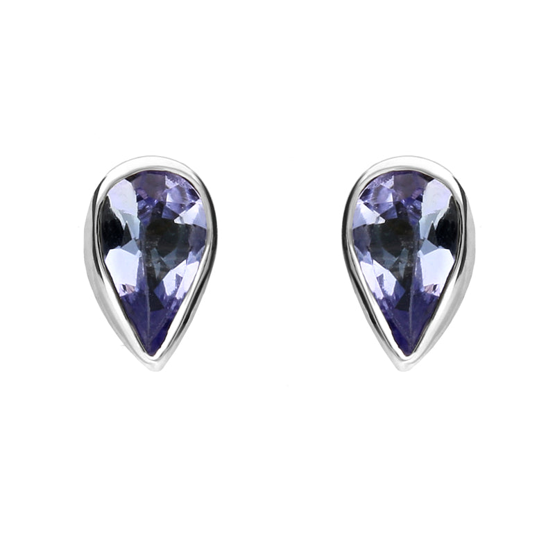 9ct White Gold and Tanzanite Small Pear Stud Earrings