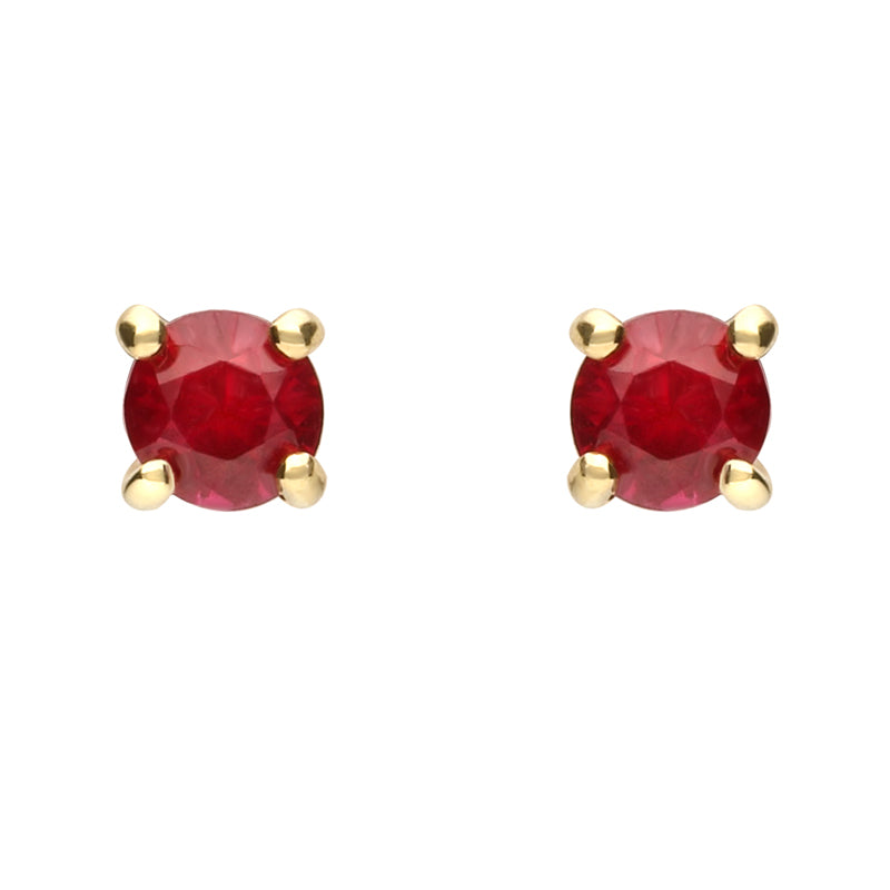 18ct Yellow Gold and Ruby Brilliant Cut Stud Earrings