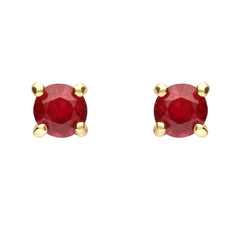 18ct Yellow Gold Ruby Brilliant Cut Stud Earrings