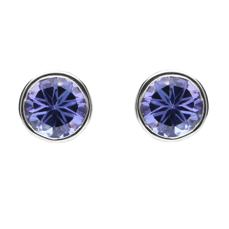 18ct White Gold And Tanzanite Round Set Stud Earrings