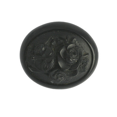 Brooch Antique Whitby Jet Carved Oval Multi Flower