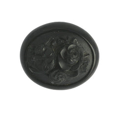 Antique Whitby Jet Carved Oval Multi Flower Brooch