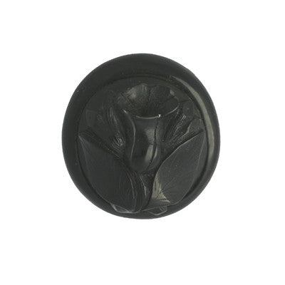 Brooch Antique Whitby Jet Carved Tulip