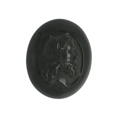 Antique Whitby Jet Carved Gentleman Cameo Brooch