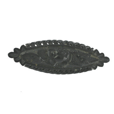 Brooch Antique Whitby Jet Carved Rose Bar Unique