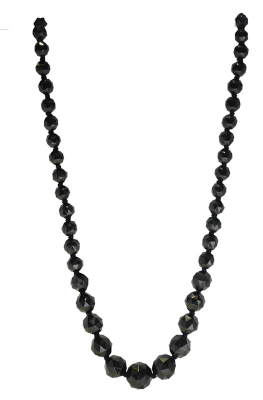 Antique Jet Round Faceted Graduated Bead Necklace