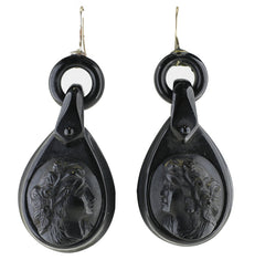 Antique Jet Carved Portrait Hook Drop Earrings