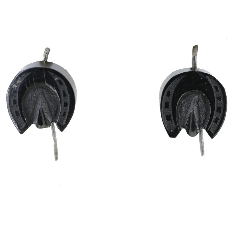 Antique Whitby Jet Small Carved Horseshoe Drop Earrings