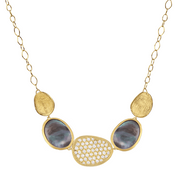 Marco Bicego Lunaria 18ct Yellow Gold Black Mother of Pearl 0.53ct Diamond Necklace, CB1974 B MPB.