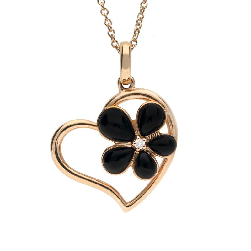 18ct Rose Gold Whitby Jet and Diamond Flower Heart Necklace