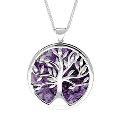 Sterling Silver Blue John Large Round Tree of Life Necklace