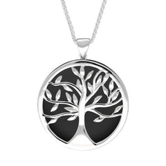 Sterling Silver Whitby Jet Large Round Tree of Life Necklace