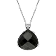 00027170 W Hamond 18ct White Gold Whitby Jet Diamond Faceted Pear Necklace, PUNQ0000130.