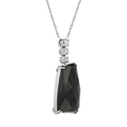 00027210 W Hamond 18ct White Gold Whitby Jet Diamond Claw Set Abstract Necklace, SH3_6