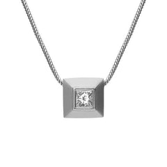 Platinum Princess Cut 0.10 Carat Diamond Solitaire Pendant Necklace