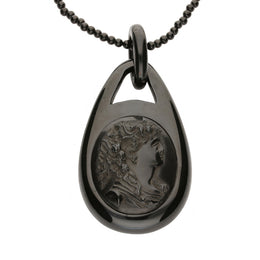 30123267 W Hamond Pendant Antique Whitby Jet Pear Shaped With Lady Cameo PUNQ0001334
