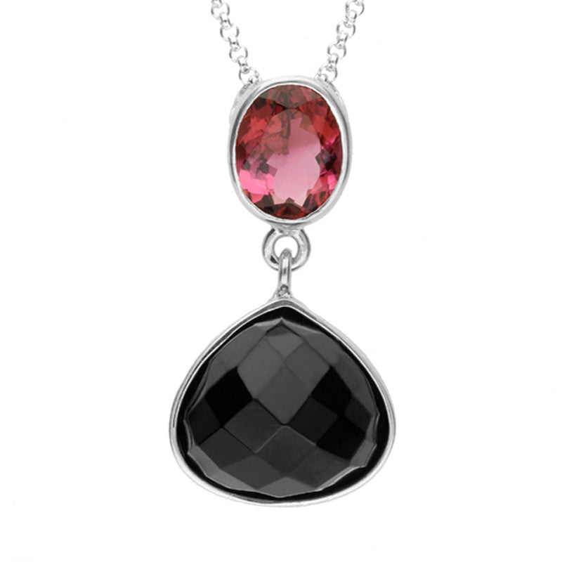 Sterling Silver Whitby Jet and Pink Tourmaline Faceted Pear Necklace