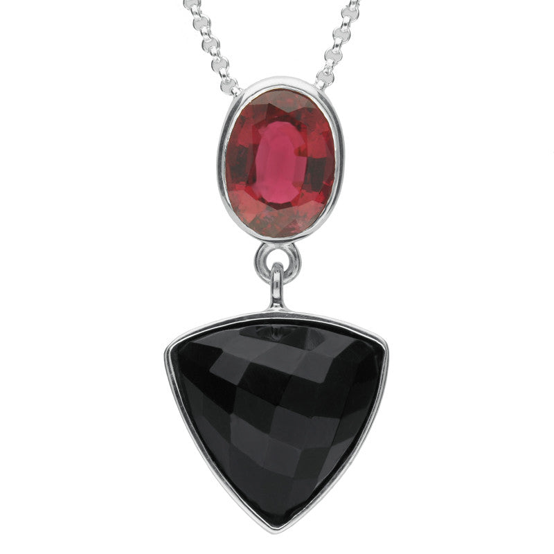 Sterling Silver Whitby Jet and Pink Tourmaline Faceted Curved Triangle Unique Necklace