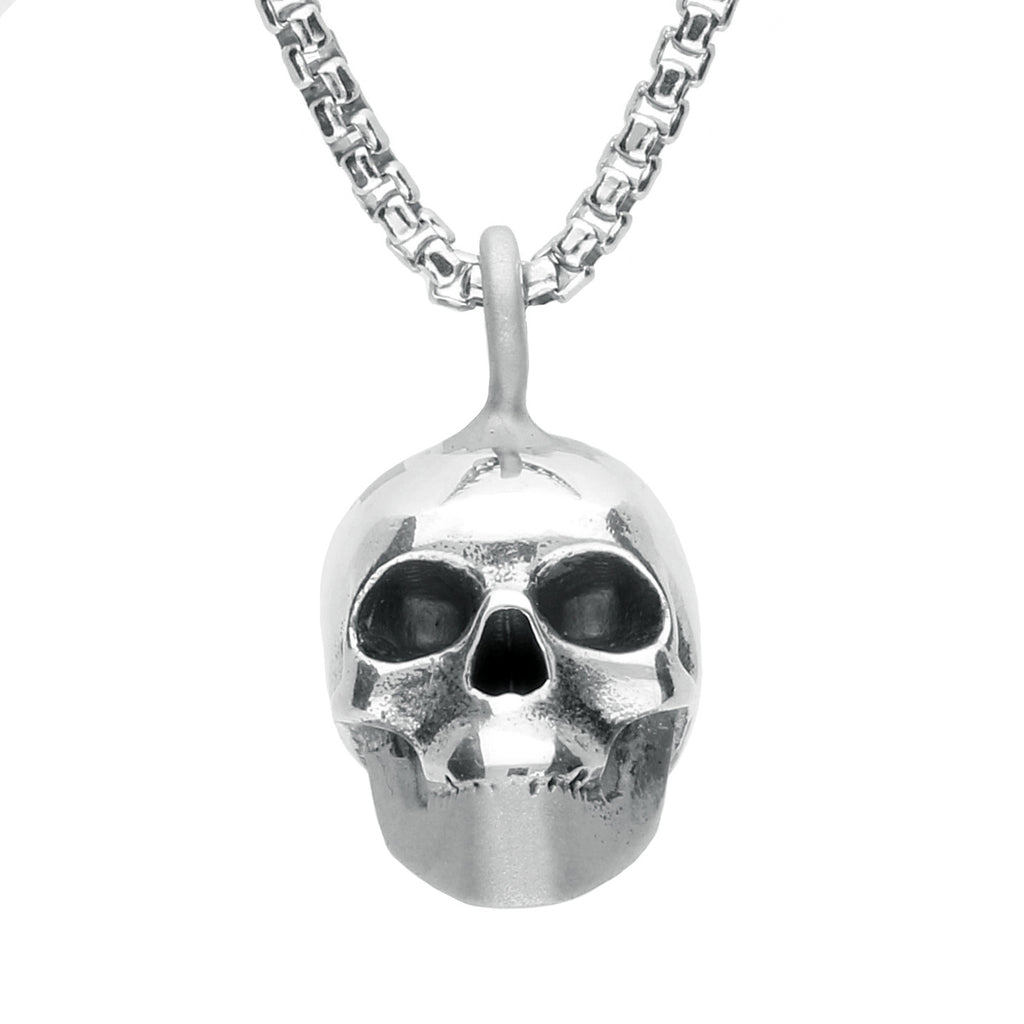 Necklace Silver Patterned Top Small Skull
