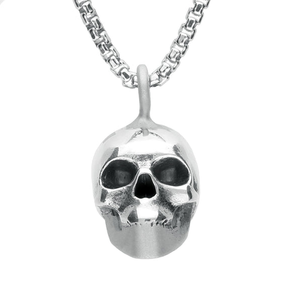 00139745 W Hamond Silver Patterned Top Small Skull Necklace, PUNQ0004902.