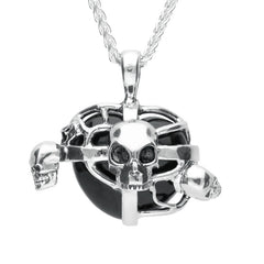 Sterling Silver Whitby Jet Small Cross Heart Skull Necklace