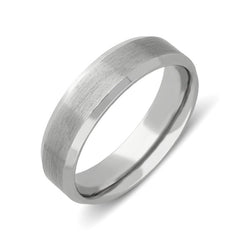 Palladium 5mm Bevelled Edge Satin Wedding Ring