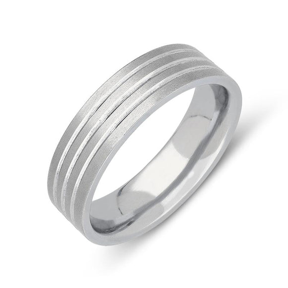 Palladium 6mm Flat Court Engraved Satin Wedding Ring, CGN-457.