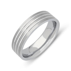 Palladium 6mm Flat Court Engraved Satin Wedding Ring