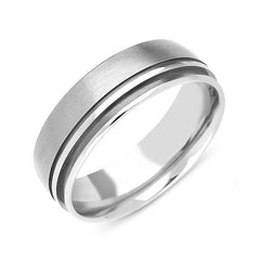 Palladium 7mm Brushed Engraved Wedding Ring