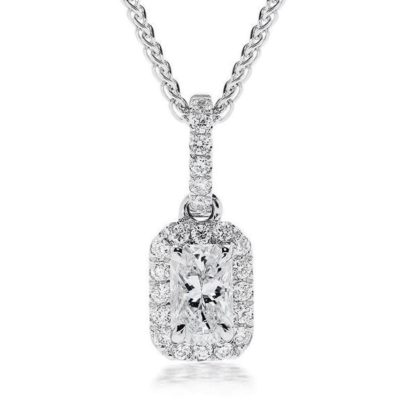 Phoenix Cut 18ct White Gold 0.43ct Diamond Cluster Necklace, ATD-111.