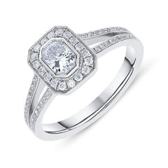 Phoenix Cut 18ct White Gold 0.60ct Diamond Halo Ring