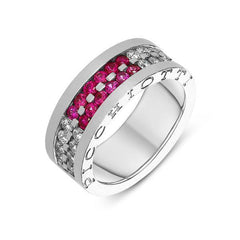 Picchiotti 18ct White Gold 0.68ct Diamond Pink Sapphire Channel Set Ring