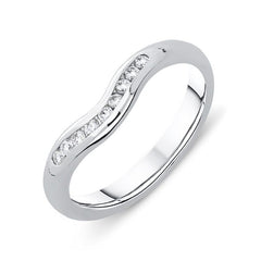 Platinum 0.16ct Diamond Wishbone Wedding Ring