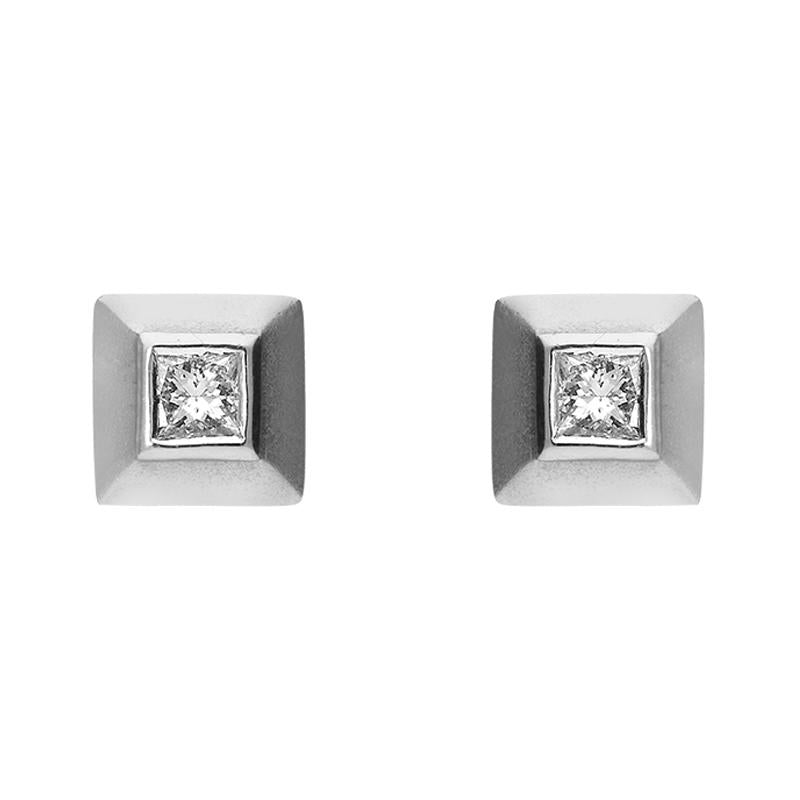 Platinum 0.20ct Diamond Princess Cut Solitaire Stud Earrings