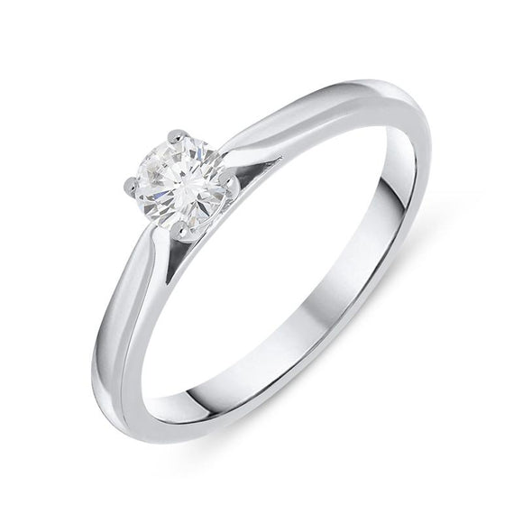 Platinum 0.25ct Diamond Brilliant Cut Solitaire Ring, FEU-765.