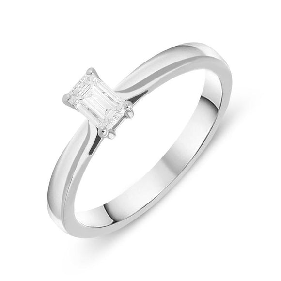Platinum 0.28ct Diamond Emerald Cut Solitaire Ring FEU-795