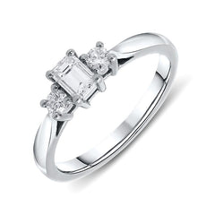 Platinum 0.31ct Diamond Emerald Cut Trilogy Ring