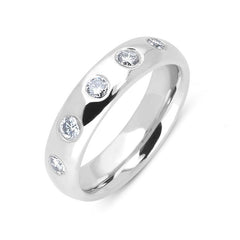Platinum 0.45ct Diamond Court Shape Wedding Ring