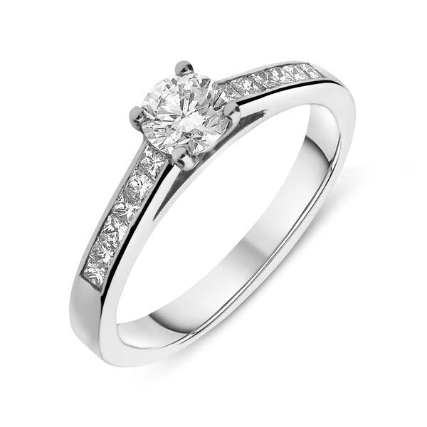 Platinum 0.50ct Diamond Princess Cut Channel Set Solitaire Ring
