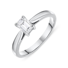 Platinum 0.56ct Diamond Emerald Cut Solitaire Ring