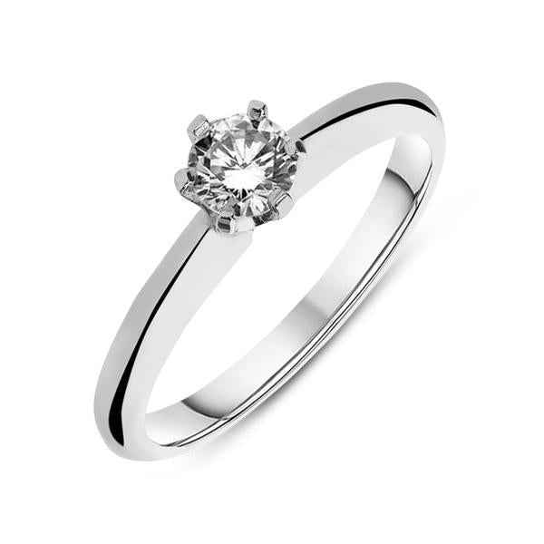 Platinum 1.00ct Diamond Round Brilliant Cut Six Claw Solitaire Ring