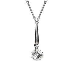 Platinum 1.0 Carat Diamond Solitaire Ascher Cut Necklace