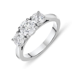 Platinum 1.57ct Diamond Brilliant Cut Trilogy Ring