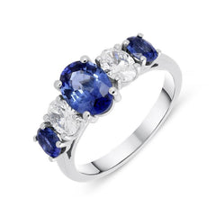 Platinum 1.95ct Sapphire Diamond Oval Five Stone Ring